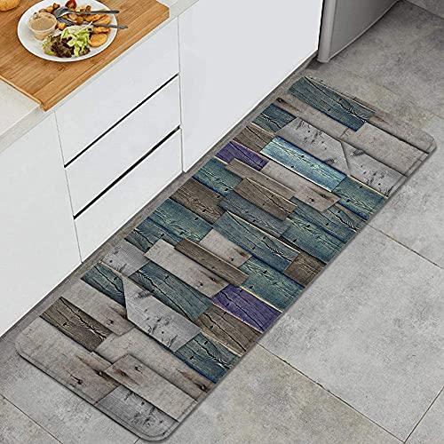 VINISATH Küchenläufer Waschbar rutschfest Küchenmatte Küchenteppich Teppich Läufer Küche Runner Fußmatte,Rustikales Bild von blau grau Grunge Holzplanken Scheune Haus...