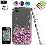 Atump Coque iPhone 4, Coque iPhone 4S avec Protecteur d'écran, Diamant Liquide Paillette Transparente 3D Silicone Gel Antichoc Kawaii Étui Fille Personnalisé pour iPhone 4 / 4S Rose Gold