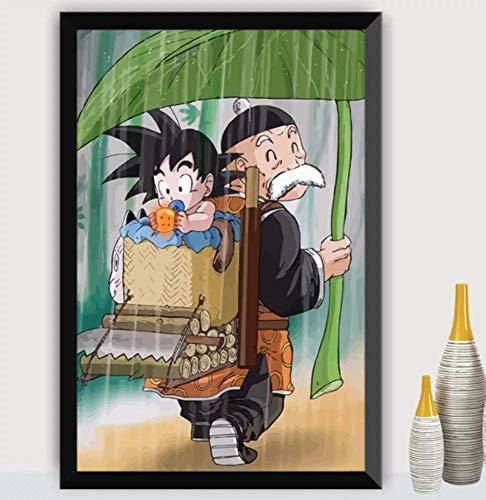 JHGJHK Película de Dibujos Animados Anime japonés Dragon Ball Goku, Pintura de decoración de habitación Familiar