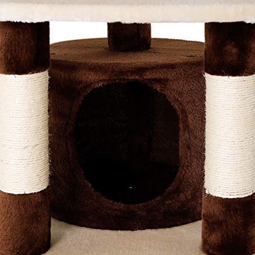 Kratzbaum, Katzenkratzbaum, Kletterbaum für Katzen, Katzenbaum, Sisal, in verschiedenen Farben (braun/beige) - 4