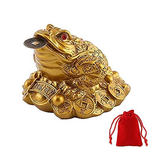 WYMAODAN moneda de la suerte, moneda de rana Feng Shui, moneda de la suerte, dije chino para la prosperidad decoración del hogar, regalo con una bolsa de la suerte