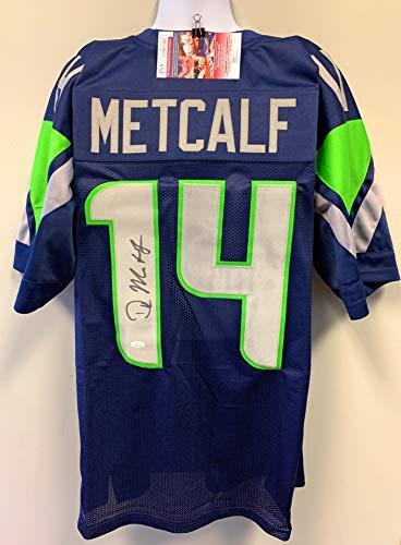 DK Metcalf Seattle Seahawks Signed Autograph Blue Custom Jersey JSA Witnessed Certified