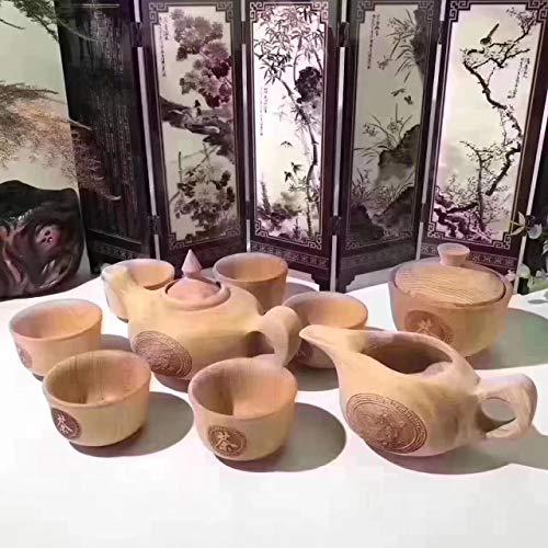 Eiw-Teeset, 9 Sets aus massivem Holz, Teekanne, Teetasse, handgefertigt, aus Holz, Eibe, gelb, 13 cm