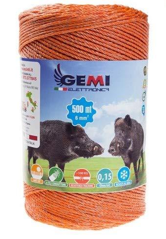 Gemi Elettronica Weidezaunlitze für den Weidezaun 500 Mt 6 mm² - Litze Weidezaunseil Elektrozaun für Schafe, Rinder, Schweine Wildschweine und Rehe
