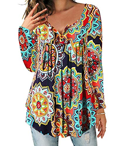 DEMO SHOW Damen Tunika Top Locker Langarm V Ausschnitt Knopfleiste Plissiert Floral Henley Shirt Bluse T Shirt (Orange, XL)