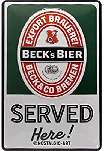 Nostalgic-Art Cartel de chapa retro Beck's – Served Here – Idea de regalo para los aficionados a la cerveza, metálico, Diseño vintage, 20 x 30 cm