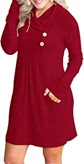 FANEW Womens Cowl V- Neck Buttoned Knit Loose Fit Sweater Dress with Pocket