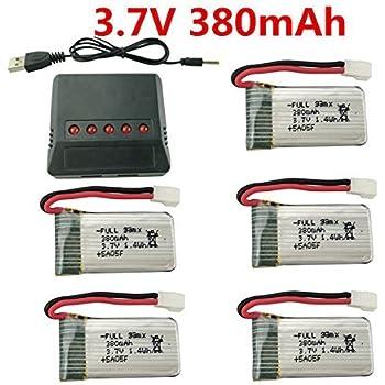 sea jump 5PCS 3.7V 380mAh 25C Battery+ X5 Charger for Hubsan X4 H107,H107C,H107L,Syma X11 X11C,HS170 HS170C F180C HS170G TOZO Q2020 E016H E016F Compatible Walkera Super CP