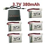 sea jump 5PCS 3.7V Battery+Charger for X4 H107,H107C,H107L, X11 X11C,HS170 HS170C F180C HS170G TOZO Q2020 E016H E016F FX801 V911S A120 XK A150 V966