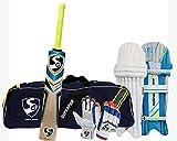 SG Kit de críquet de bateo (Superpak Kitbag + Optipro Legguard + Club Batting Guantes