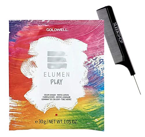 semi-permanent GoIdweII ELUMEN PLAY Color Eraser - White Canvas Hair Color Dye Remover (with Sleek Steel Pin Rat Tail Comb) Haircolor Erase Remove (1.05 oz packette (PACK OF 1))
