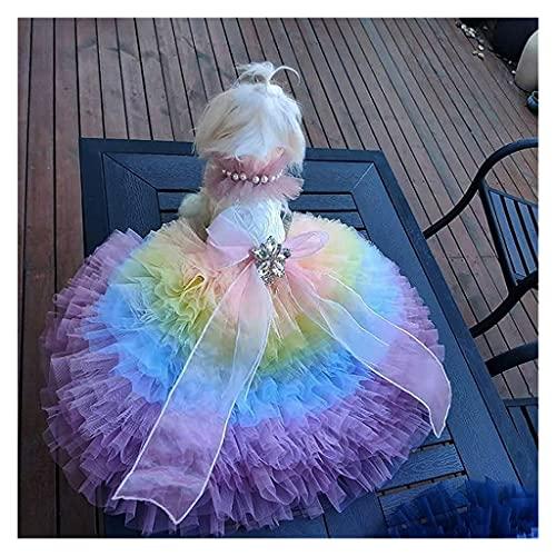 HDDFG Ropa para Perros Hecha a Mano, Vestido de Novia de Princesa de Color Caramelo, Cuello de Perlas, Tren de Capilla de Tul, Vestido de Arrastre para Mascotas, caniche (Size : Small)