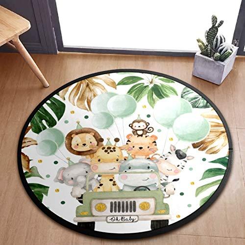 AMONKA Tapis rond pour enfants - Motif animaux de safari - Motif : jungle - Antidérapant - Pour chambre à coucher, salle de jeux, décoration d