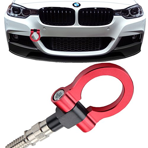 JGR Track Racing Style Tow Hook Towing Eye CNC Aluminum Screw On Car Accessories Front Rear Bumper for BMW 3 Series 318 320 323 325 328 330 335 316 340 F30 F31 F34 GT 2012+ Red