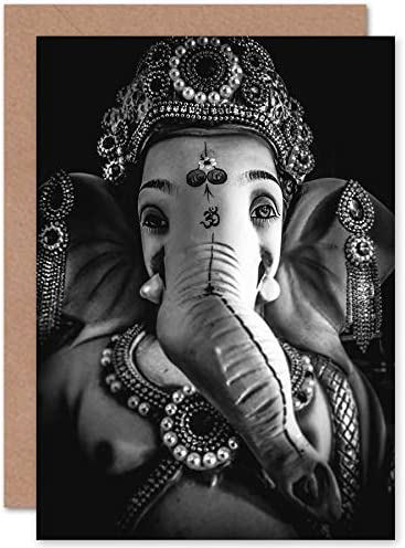Fine Art Prints Black And White Ganesh Hindu Greeting Card With Envelope Inside Premium Quality product image