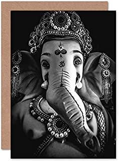 Fine Art Prints Svartvitt Ganesh hindu gratulationskort med kuvert inuti premiumkvalitet