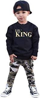TiTCool Lil' King Toddler Baby Boy T-Shirt Tops+Camouflage Pants Outfits Clothes