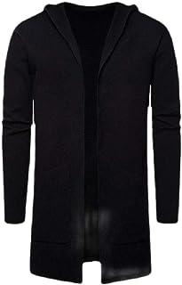 Macondoo Men's Open Front Warm Knit Hoodie Outwear Pocket Coat Cardigans