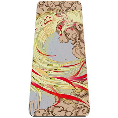Esterilla Yoga,Phoenix arte mitología retro ,Esterilla Deporte Antideslizante Ecológica y 100% Natural de,No tóxico,para Pilates,Fitness