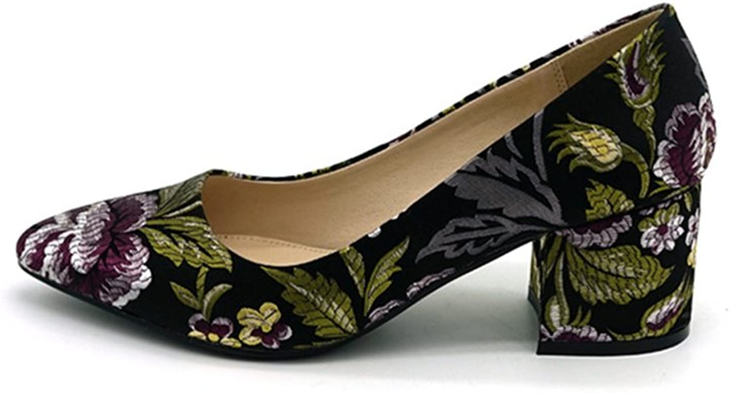 FORTUN Retro Low-Heeled shoes Women's Classic Printing Square Roots Pointed Toe