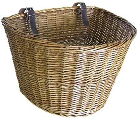 Jilibaba Cesta de mimbre para bicicleta con correas de cuero hecha a mano tradicional cesta de la compra de mimbre tejida