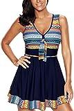 ALICECOCO donna Pin-up Bikini Set Halter costumi da bagno un pezzo con gonna integrato (EU 40-42 (L), colore)