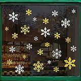 Naler 60 Copo de Nieve Pegatinas Ventana Decorativa Pegatinas con Purpurina para Ventanas Puertas de Cristal Escaparates (Plata y Dorada)