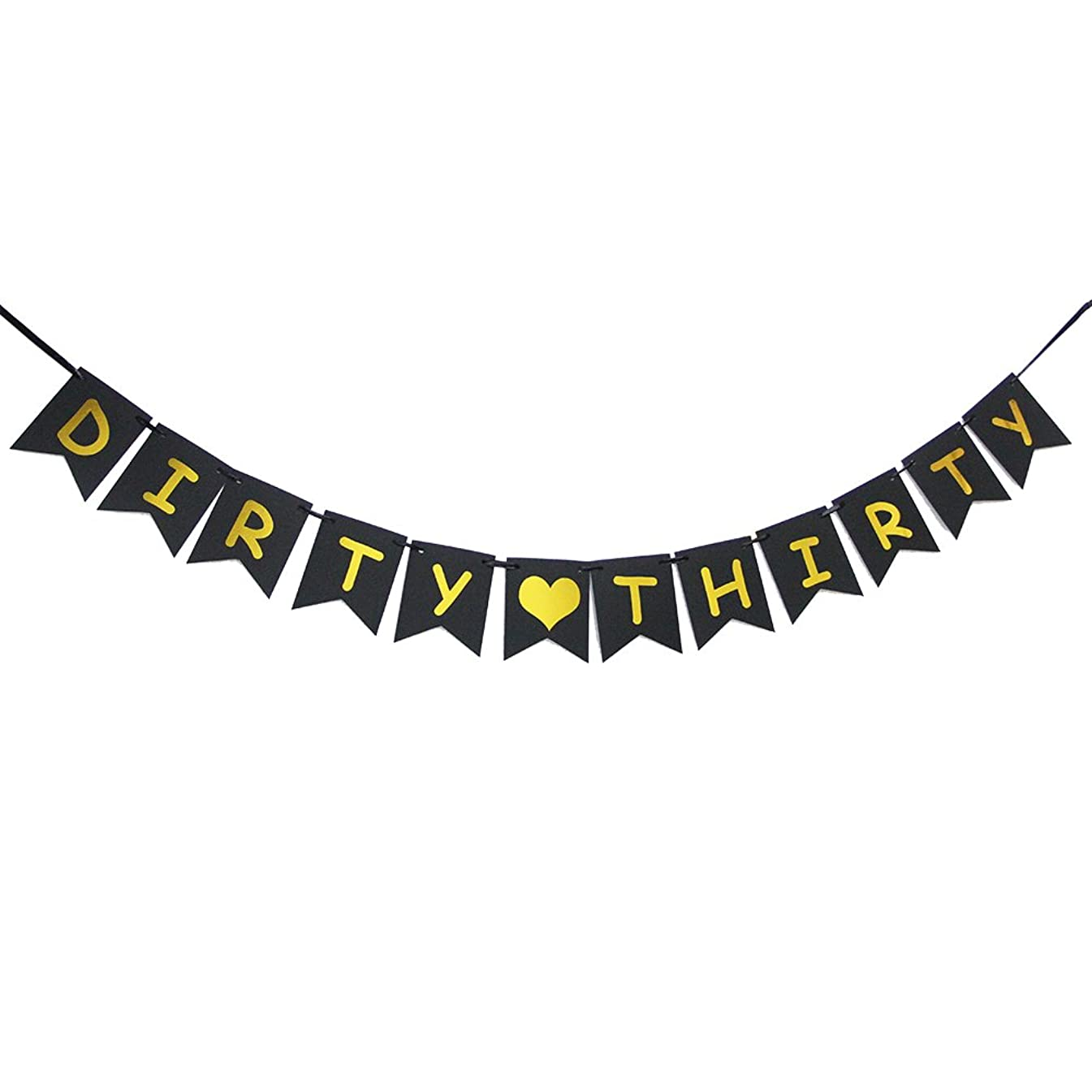 Dirty Thirty Banner -Gold Glitter Heart for 30TH Birthday 30 Years Wedding Anniversary Party Banner Decoration Bunting