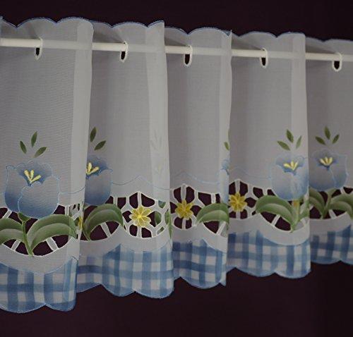 Hossner Scheibengardine Blume Bistrogardine Kurzstore Cafehausgardine Voile Bestickt Landhaus Shabby 30/100 cm weiß-blau