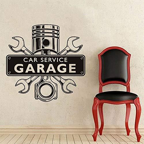 JXNY Reparaturwerkstatt Wandaufkleber Autoservice Garage Wortzeichenschlüssel über Motor abnehmbare Hauptdekoration Vinyl Wandtattoo 42x42cm