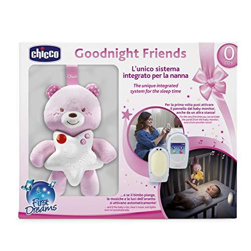 Chicco SET-Audio-Babyphone FIRST DREAMS mit Gute Nacht Bärchen, DECT-Technologie, Gegensprechfunktion, Farbiges Touchscreen, Nachtlicht und Schlaflied, GIRL, rosa