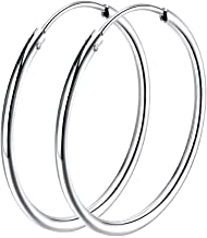 925 Sterling Silver hoop earrings For Women Girls, Polished Round Endless Fine Circle Hoops earrings gift, All Sizes