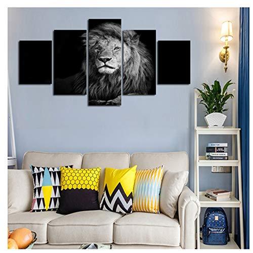 nr Wandkunst Poster Modern Home Decor Wohnzimmer 5 Stück Schwarz Weiß Effekt Tier Löwe Leinwand Malerei Modulare Bilder Ungerahmt-30x40 30x60 30x80cm Kein Rahmen