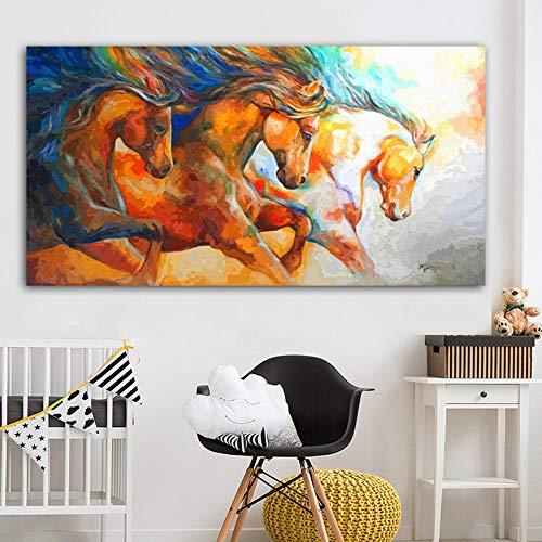 YUANOMWJ Malerei Auf Leinwand,Aquarell Abstrakt Laufend Robustes Pferd Tier,Leinwand Malerei Wandkunst Poster Drucke Ohne Rahmen Bilder Wohnzimmer Home Decoration,20X40Cm(8X16Inch)