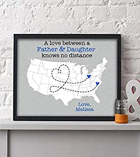 Personalized Dad Paper Print | Gift For Dad | Gift For Him | Dad Present | Fathers Day Gift | Long Distance Map Gift | Unique Dad Gift