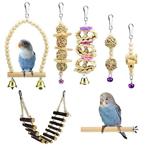 KATUMO Bird Toys, Natural Wood Bird Swing Climbing Rope Ladder Chewing Toys with Bells Bird Perch...
