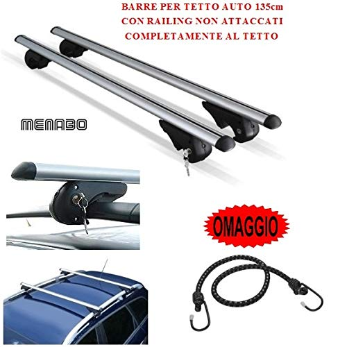 Compatible con Nissan Terrano 2 2003 Barras DE Techo para Coche 135CM MENABO con BARANDILLA NO Completamente ADJUNTA AL Techo Rack DE Equipaje DE Aluminio Aprobado