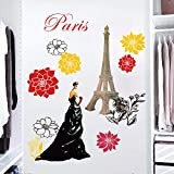 decalmile Pegatinas de Pared Torre Eiffel Flores Vinilos Decorativos Romantico Paris Elegante Niña Adhesivos Pared Ventana Sala Habitación Hotel