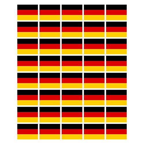 40 Stück Aufkleber Deutschland Flagge 4 cm x 3 cm | German Flag | Germany | wetterfest & UV Schutz | Set
