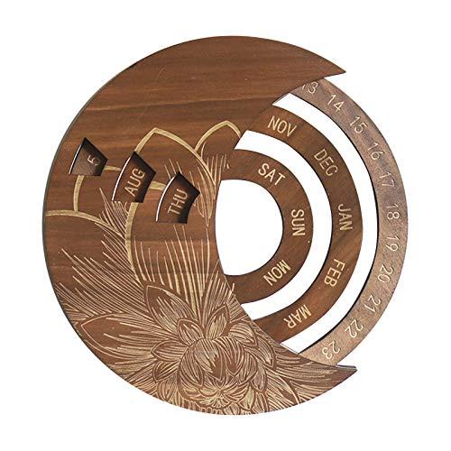 YSISLY Calendario colgante de madera, 25,4 cm, calendario perpetuo ajustable de madera, calendario 2021, manualidades, creativo, elegante, vintage, engranajes mecánicos(marrón)