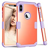 ZHOGTNEG iPhone Xs Max Case, Three-Layer Heavy Duty Protection Case W/Soft Silicone & Hard PC Anti-Scratch Shock-Absorption Rugged Bumper Cover Case for iPhone Xs Max 6.5 inch (Coral Red/Purple)