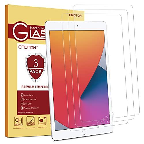 OMOTON [3 Stück] Panzerglasfolie kompatible mit iPad 9. Generation(2021) & iPad 10.2 (8/7.Generation),iPad Pro,iPad Air 3 Panzerglas mit Schablone, 9H Festigkeit, Kratzfest, bläschenfrei