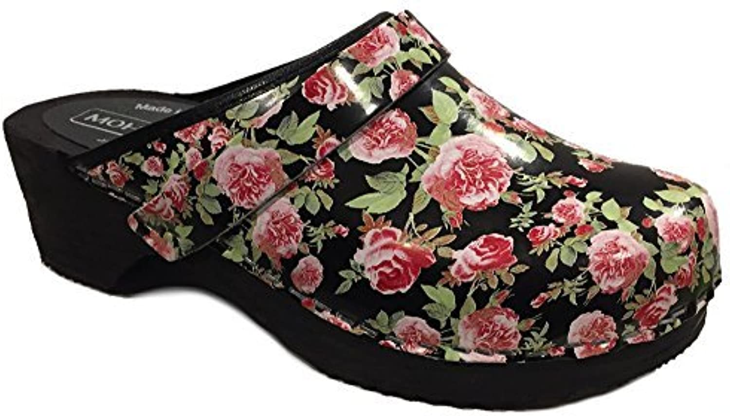 Moheda Toffeln 'pinknna' Floral Clogs - Fancy Black