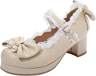 TAOFFEN Women Sweet Bow Shoes with Lace Mid Block Heels Round Toe