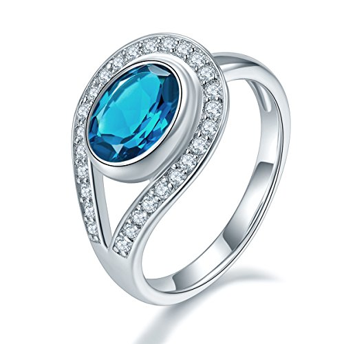 Hutang Jewelry - 925 Sterling-Silber Sterling-Silber 925 Oval/Round blau London Blue Topaz