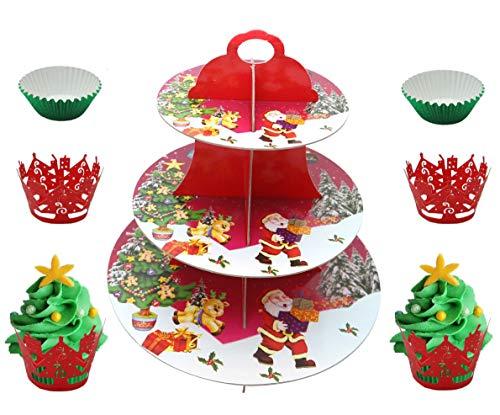 Soporte redondo de Magdalenas de Navidad, soporte de cupcake de 3 niveles con 48 soportes de pastel verde y 48 rojos, pantalla de papel duro de varios niveles para magdalenas pasteles postres pasteles