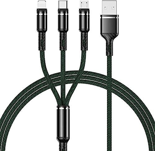 Multi cable de carga 3 en 1 cargador rápido 3A cable de conexión con el teléfono i / USB Tipo C / Android adaptador de puerto compatible con el teléfono i 12 11 8 7 6 Pro cojín de i Samsung Huawe