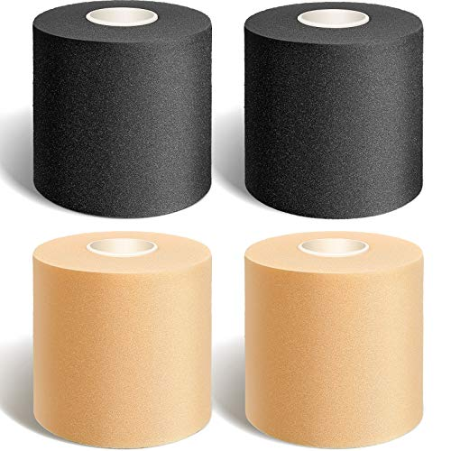 Nuanchu 4 Pieces Foam Underwrap Athletic Foam Tap Sports Pre-wrap Athletic Tape for Ankles Wrists Hands and Knees in Beige and Black, 2.75 x 30 Yards
