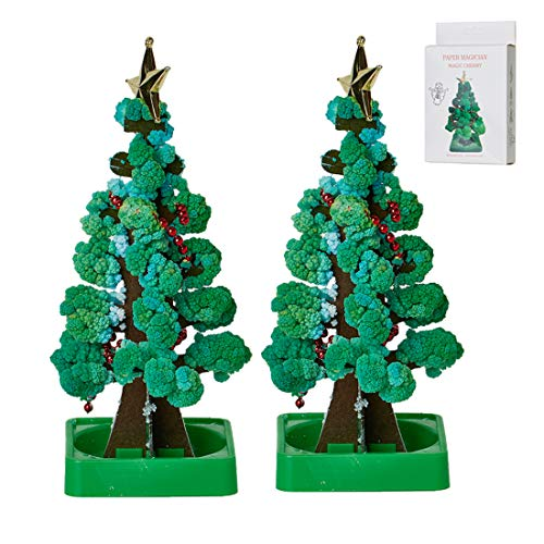 TOPARCHERY 2 PCS Magic Growing Christmas Tree, Magic Growing Crystal Christmas Tree Kit Novelty for Kids DIY, Funny Educational and Party Toys (Green)