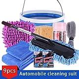 Rouku 9pcs / Set Kit de Limpieza del vehículo para Lavar el Exterior del automóvil y el Interior Kit de Limpieza del hogar Kit de Limpieza de Toallas de Microfibra